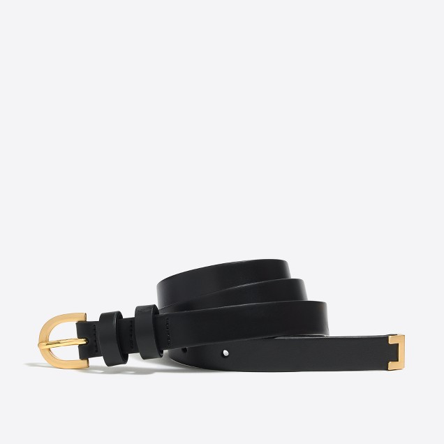 Metal-tipped leather belt