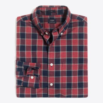 Slim heather washed gingham shirt factorymen the score: washed shirts c