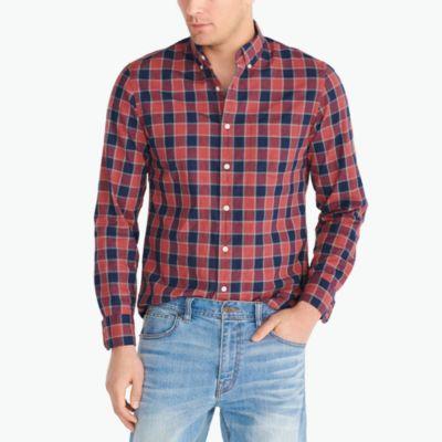 Slim heather washed gingham shirt factorymen casual shirts c