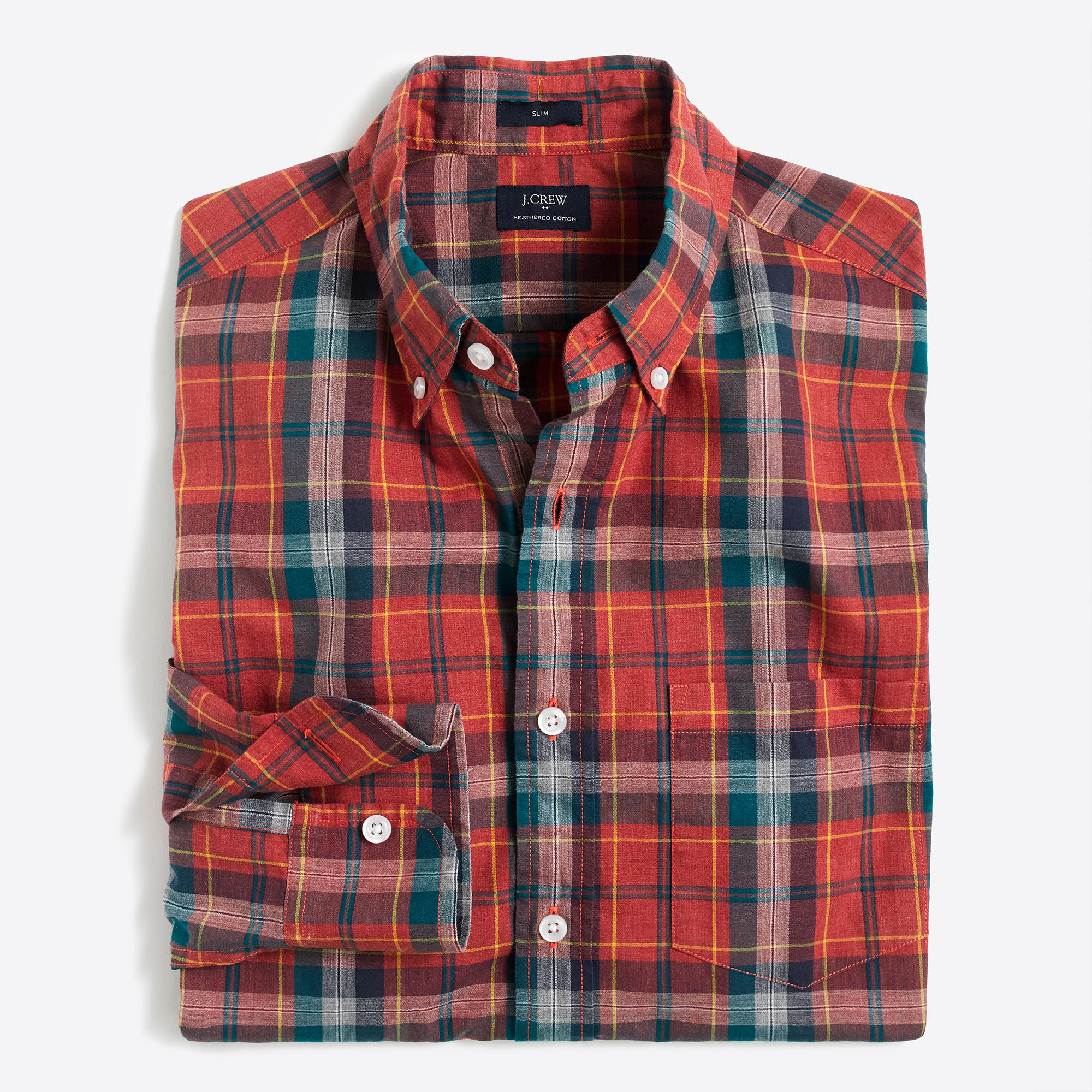 Slim heather washed plaid shirt factorymen shirts factory for Mixed plaid shirt mens
