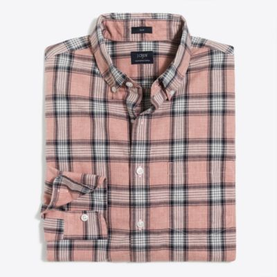 Slim heather washed plaid shirt factorymen casual shirts c