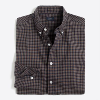 Slim heather washed tattersall shirt