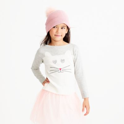 Girls' embellished cat intarsia sweater