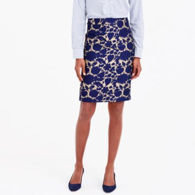 Metallic jacquard pencil skirt