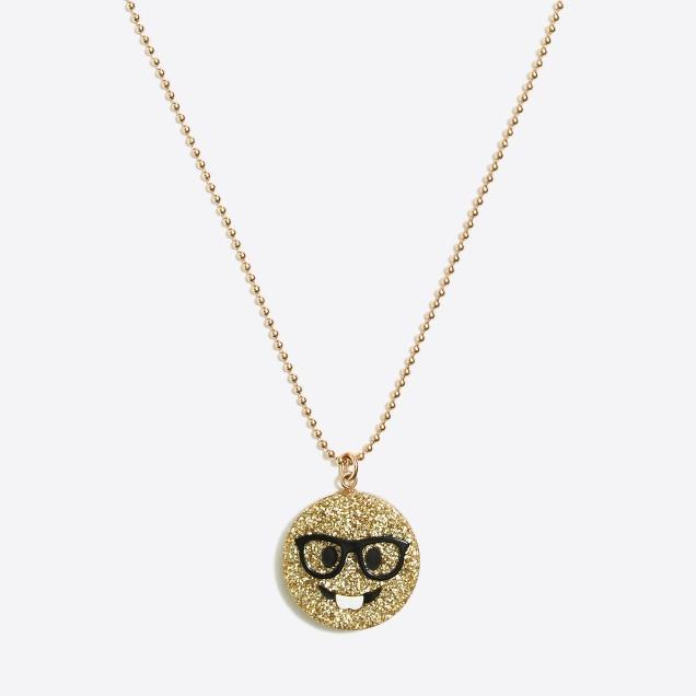 Girls' emoji pendant necklace