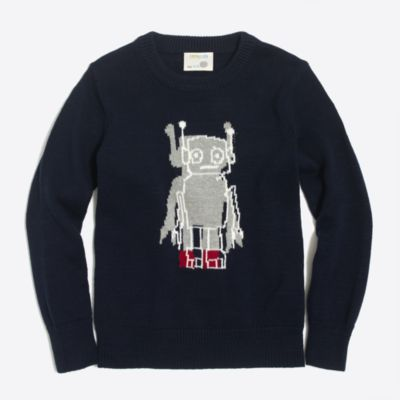 Boys' robot intarsia sweater