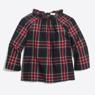 Girls' Stewart tartan plaid ruffle-neck top