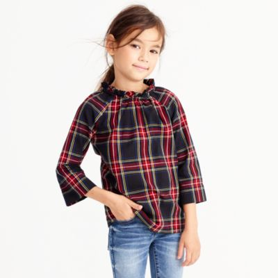 Girls' Stewart tartan plaid ruffle-neck top