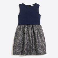 Girls' geo metallic jacquard-bottom dress
