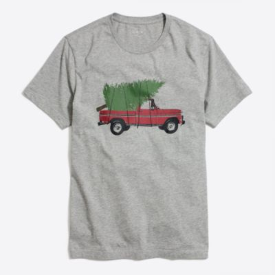 Truck and tree graphic T-shirt