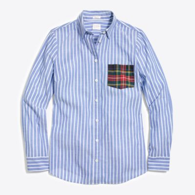 Long-sleeve shirt with tartan plaid pocket   search