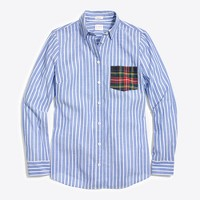 Long-sleeve shirt with tartan plaid pocket
