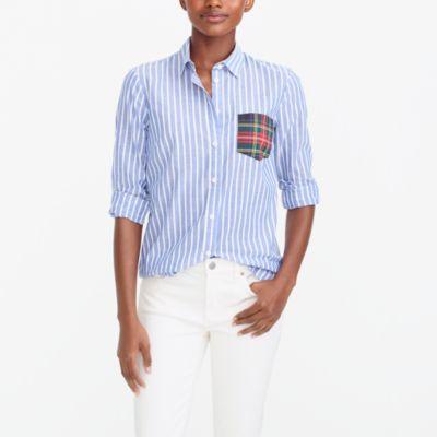 Long-sleeve shirt with tartan plaid pocket