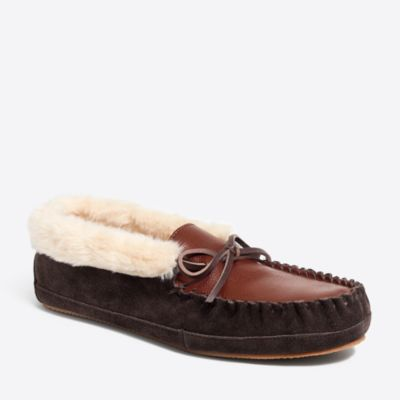 Leather shearling moccasins factorymen socks & shoes c
