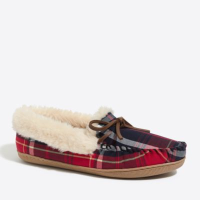 Tartan plaid shearling slippers factorywomen extra-nice list deals c