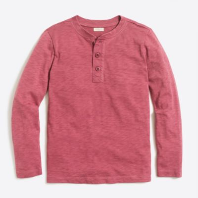 Boys' long-sleeve garment-dye henley