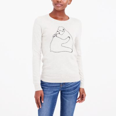 Embroidered bear hug teddie sweater
