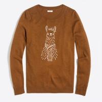 Embroidered alpaca teddie sweater