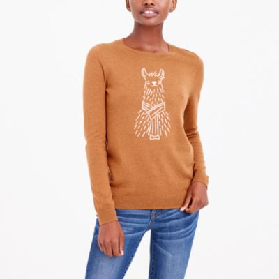 Embroidered alpaca teddie sweater
