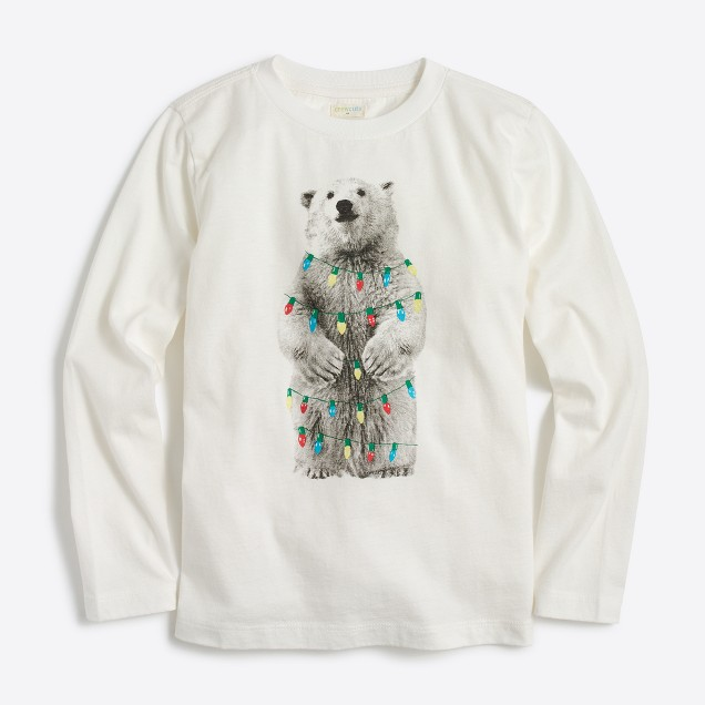 Boys' long-sleeve bear with holiday lights storybook T-shirt