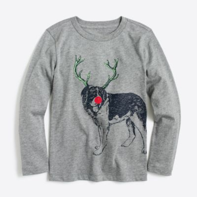 Boys' long-sleeve dog with antlers storybook T-shirt
