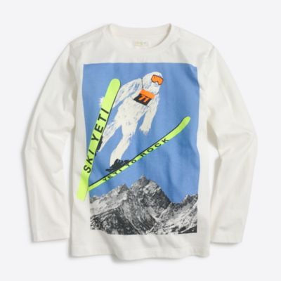 Boys' long-sleeve yeti skiing storybook T-shirt