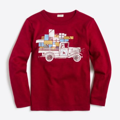 Boys' long-sleeve santa with presents storybook T-shirt