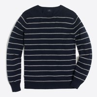 Slim Harbor cotton placed stripe crewneck sweater