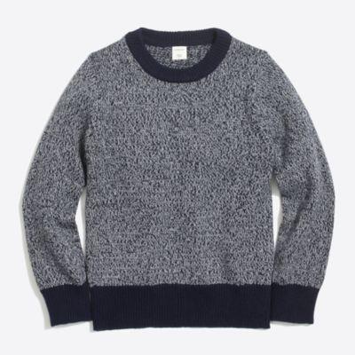 Boys' marled cotton crewneck popover sweater