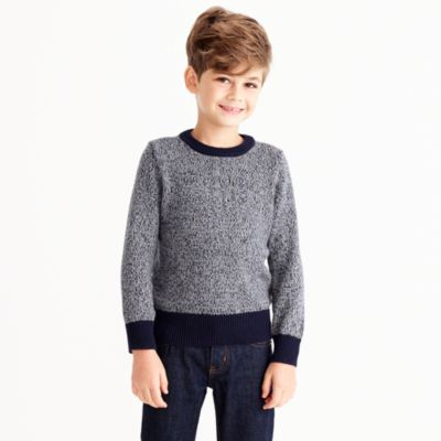 Boys' marled cotton crewneck popover sweater
