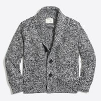 Boys' marled cotton shawl-collar cardigan sweater