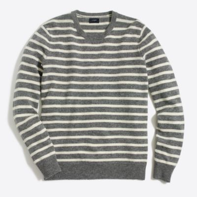 Lambswool striped elbow patch crewneck sweater