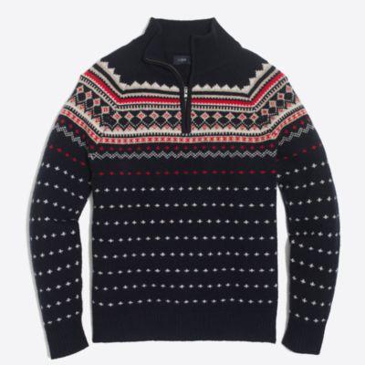 Lambswool fair isle half-zip sweater