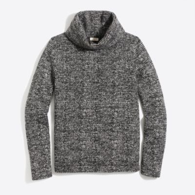 Long-sleeve mock-neck pullover in glen plaid   search