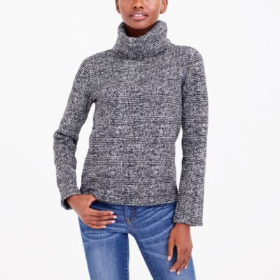 Long-sleeve mock-neck pullover in glen plaid