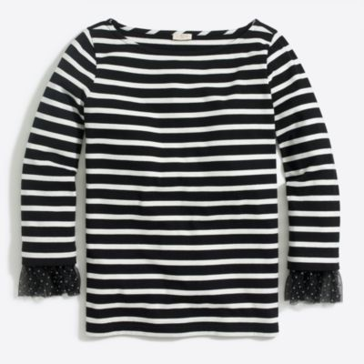 Long-sleeve striped T-shirt with dotted tulle cuff   sale