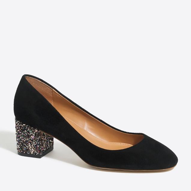 Bryn suede glitter mid-block heels