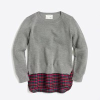 Girls' shirttail hem popover sweater