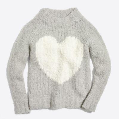 Girls' fuzzy heart intarsia popover sweater   sale