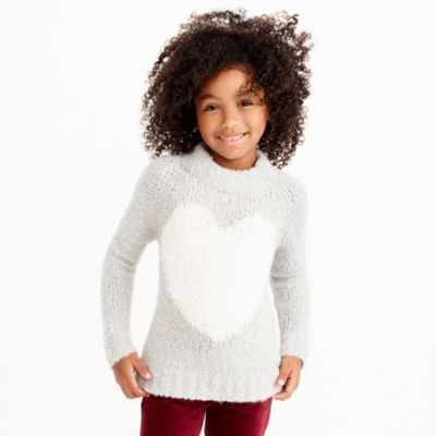 Girls' fuzzy heart intarsia popover sweater