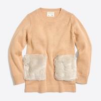 Girls' fur pocket tunic