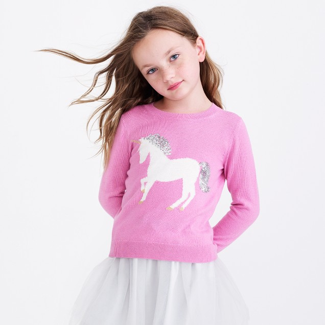 Girls' unicorn intarsia popover sweater
