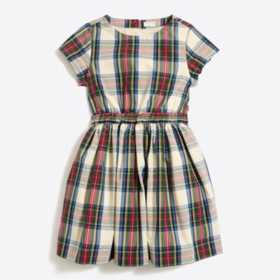 Girls' short-sleeve tartan plaid dress   sale