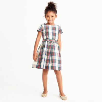 Girls' short-sleeve tartan plaid dress