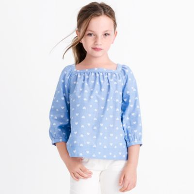 Girls' heart-print peasant top factorygirls shirts, t-shirts & tops c