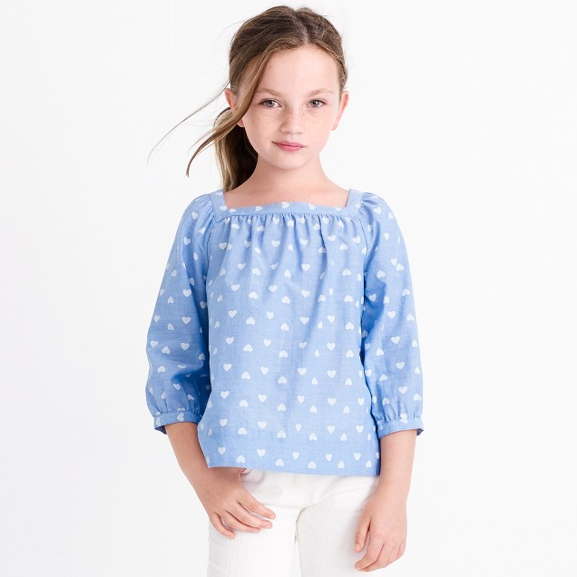 Girls' heart-print peasant top