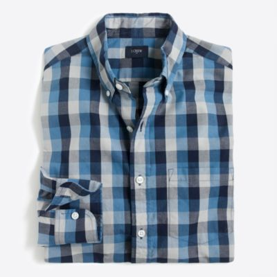 Washed tri-color gingham shirt factorymen casual shirts c