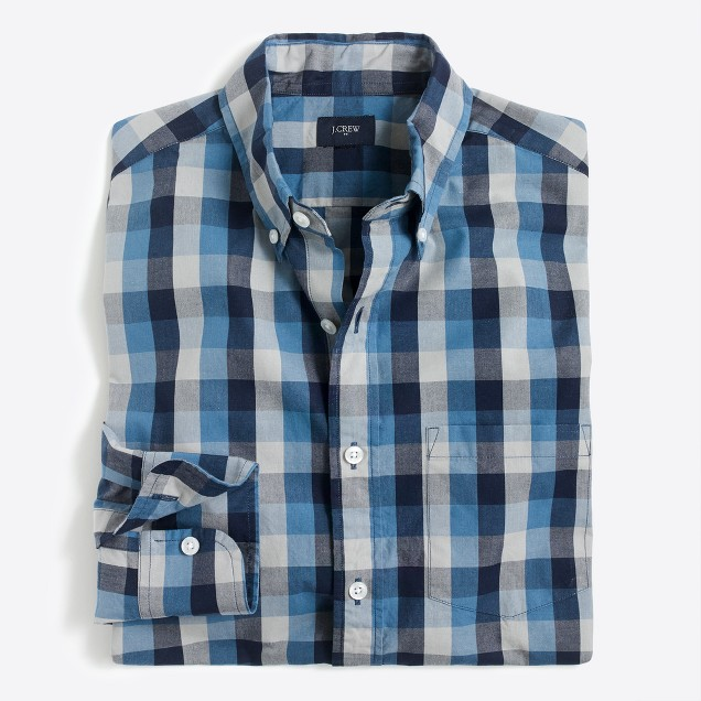 Washed tri-color gingham shirt
