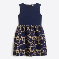 Girls' floral metallic jacquard-bottom dress