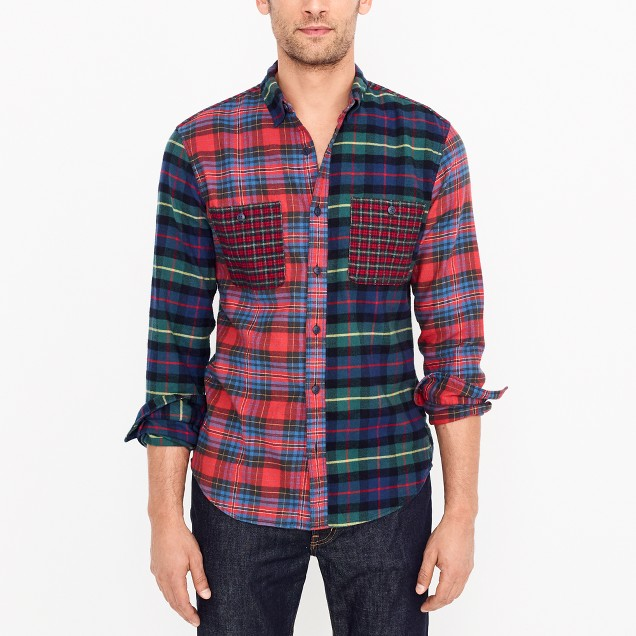 Slim mixed flannel shirt